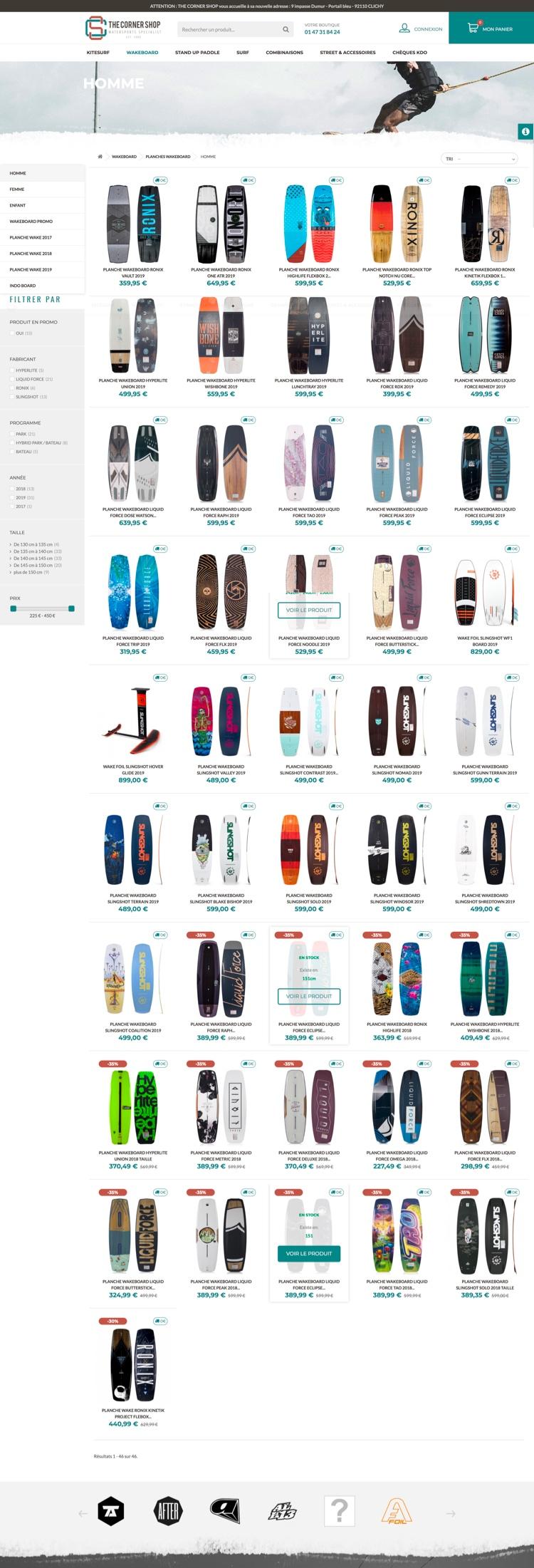 Création site internet - The Corner Shop