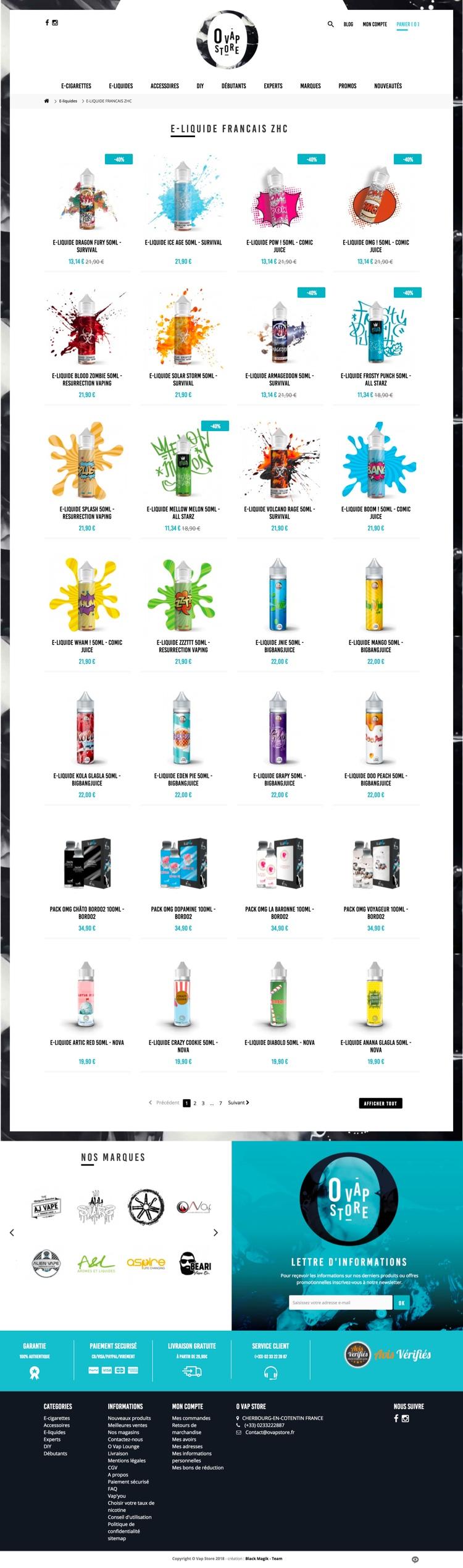 Création site internet - O'Vap Store