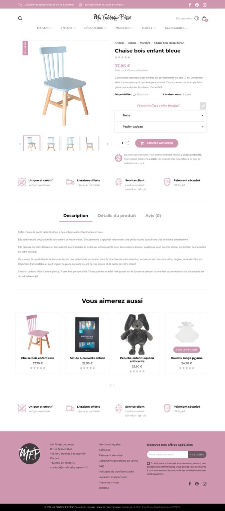 Création site internet - Ma fabrique perso